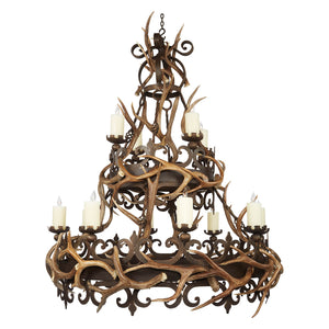 12 Light, 2 Tier Nico with Antlers - Antlerworx
