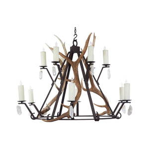 12 Light Banker with Antlers and Quartz - Antlerworx