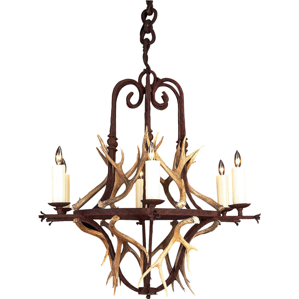 6 Light Banister with Antlers