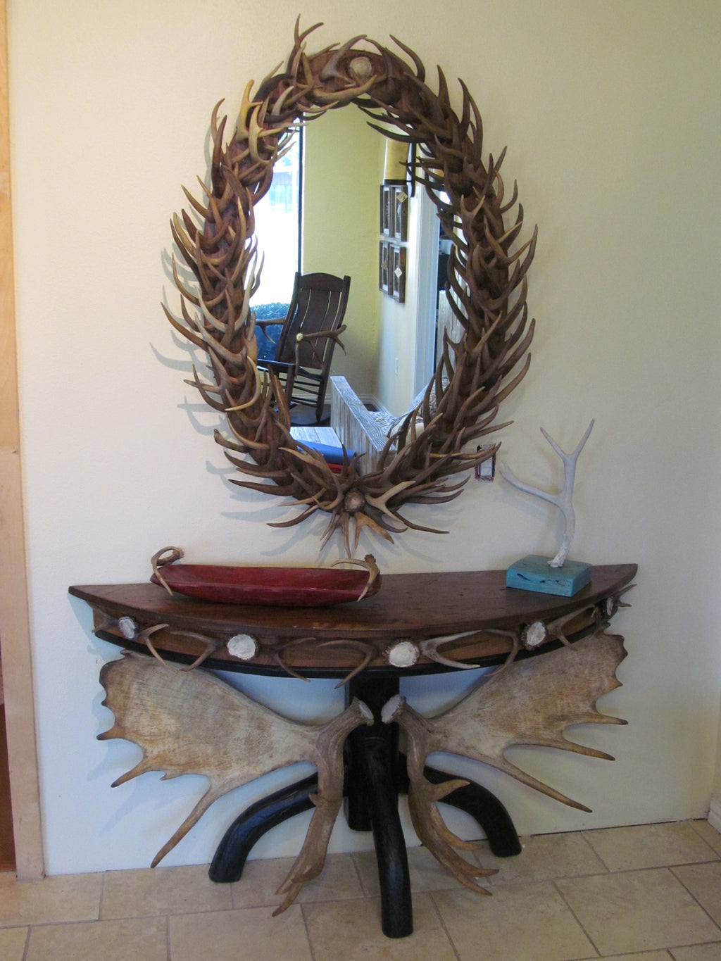Oval Antler Forked Mirror (M-1)