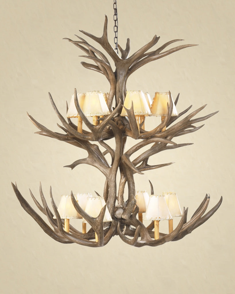 12 Light Double Tiered Mule Deer Antler Chandelier (SKU-70) - Antlerworx