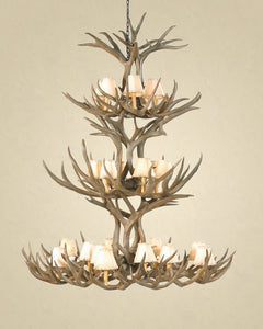 20 Light Triple Tiered Mule Deer Antler Chandelier (SKU-71) - Antlerworx