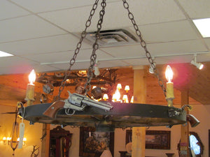 3 Light Wagon Wheel Pistol Chandelier (3 Pistols)(AWC-68) - Antlerworx