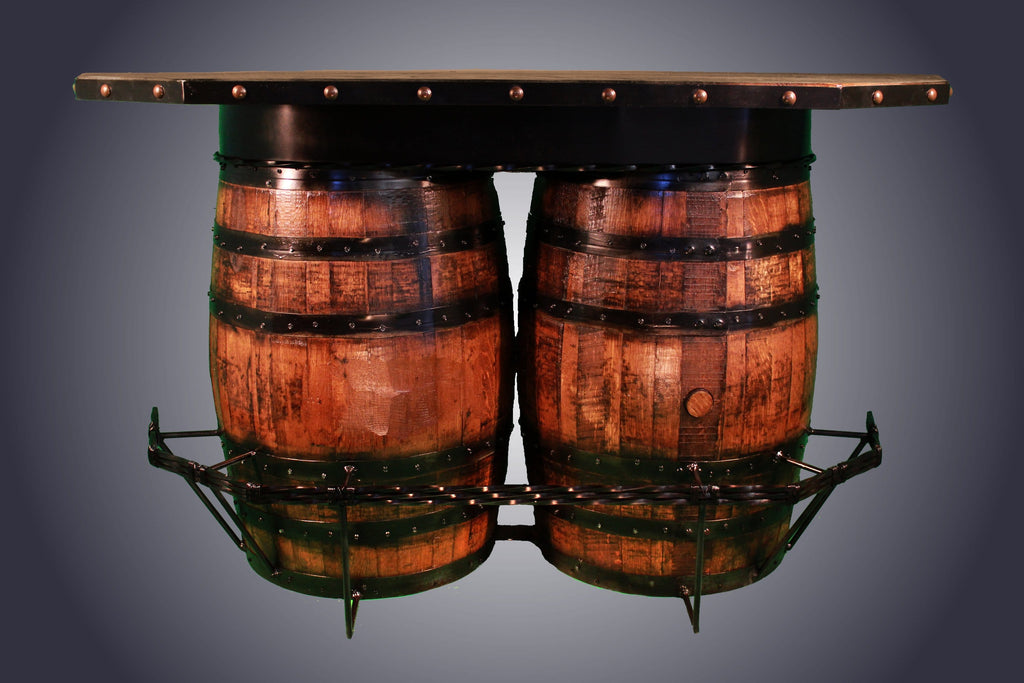 Split Whiskey Barrel Bar with Shelves (WB-1) - Antlerworx