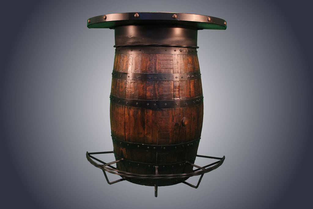 Half Whiskey Barrel Bar with Shelves (WB-3) - Antlerworx