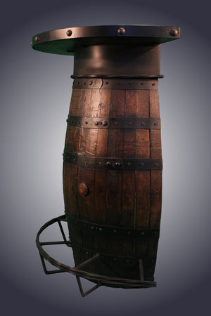 Half Whiskey Barrel Bar with Shelves (WB-3)