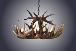 4 Light Small Single Tiered Whitetail Antler Chandelier (SKU-102S) - Antlerworx