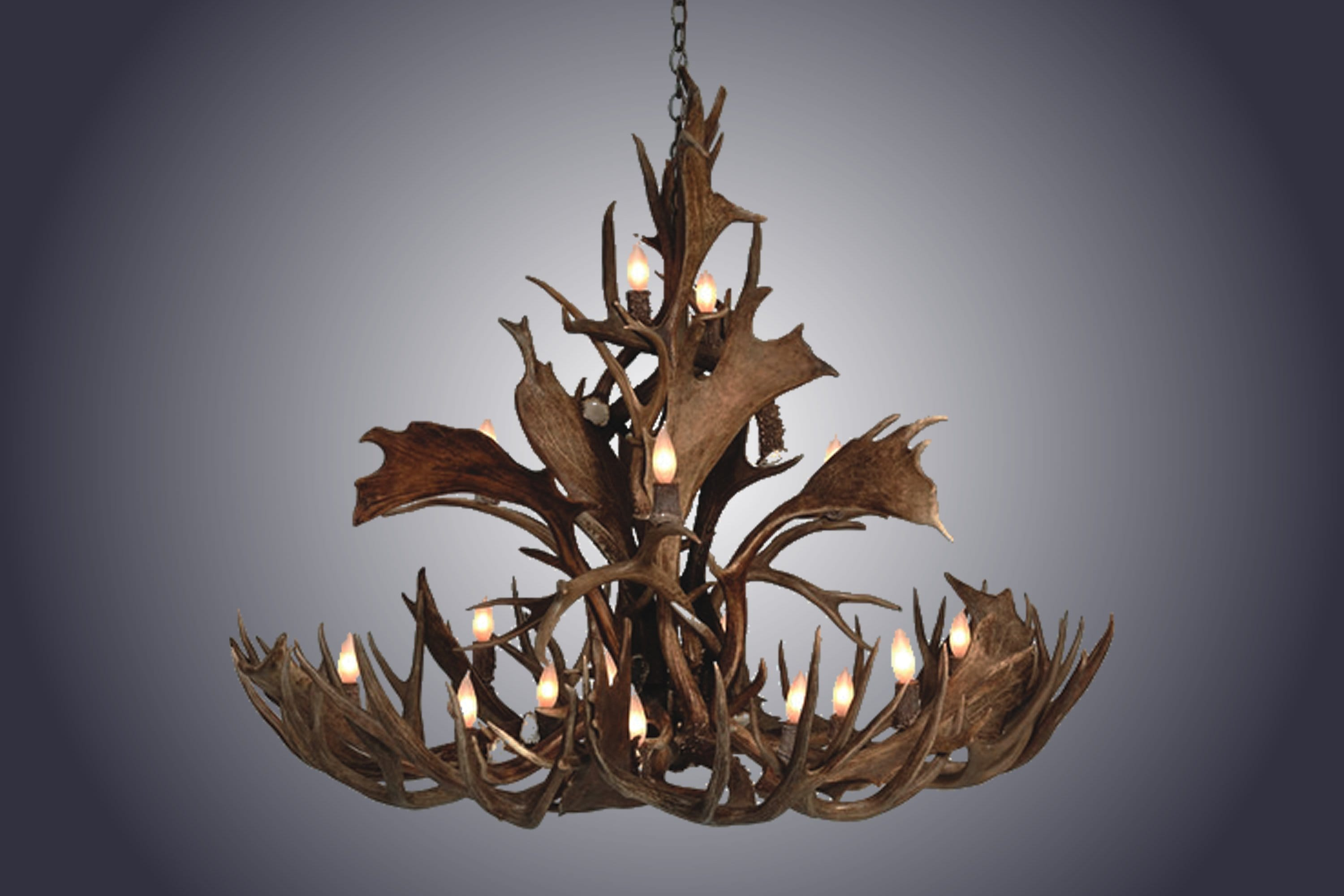 14 Light Small Mule/Fallow Cascading Antler Chandelier (SKU-145S) - Antlerworx