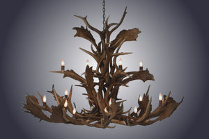 16 Light Large Elk/Fallow Cascading Antler Chandelier (SKU-148) - Antlerworx