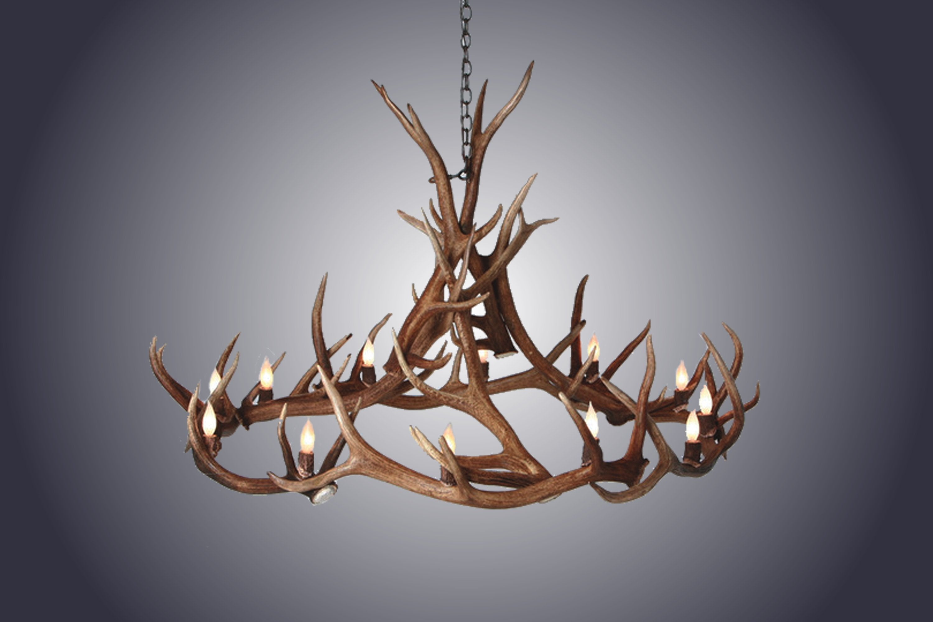 ... 12 Light Elk Wagon Wheel Antler Chandelier Sku 156 ...