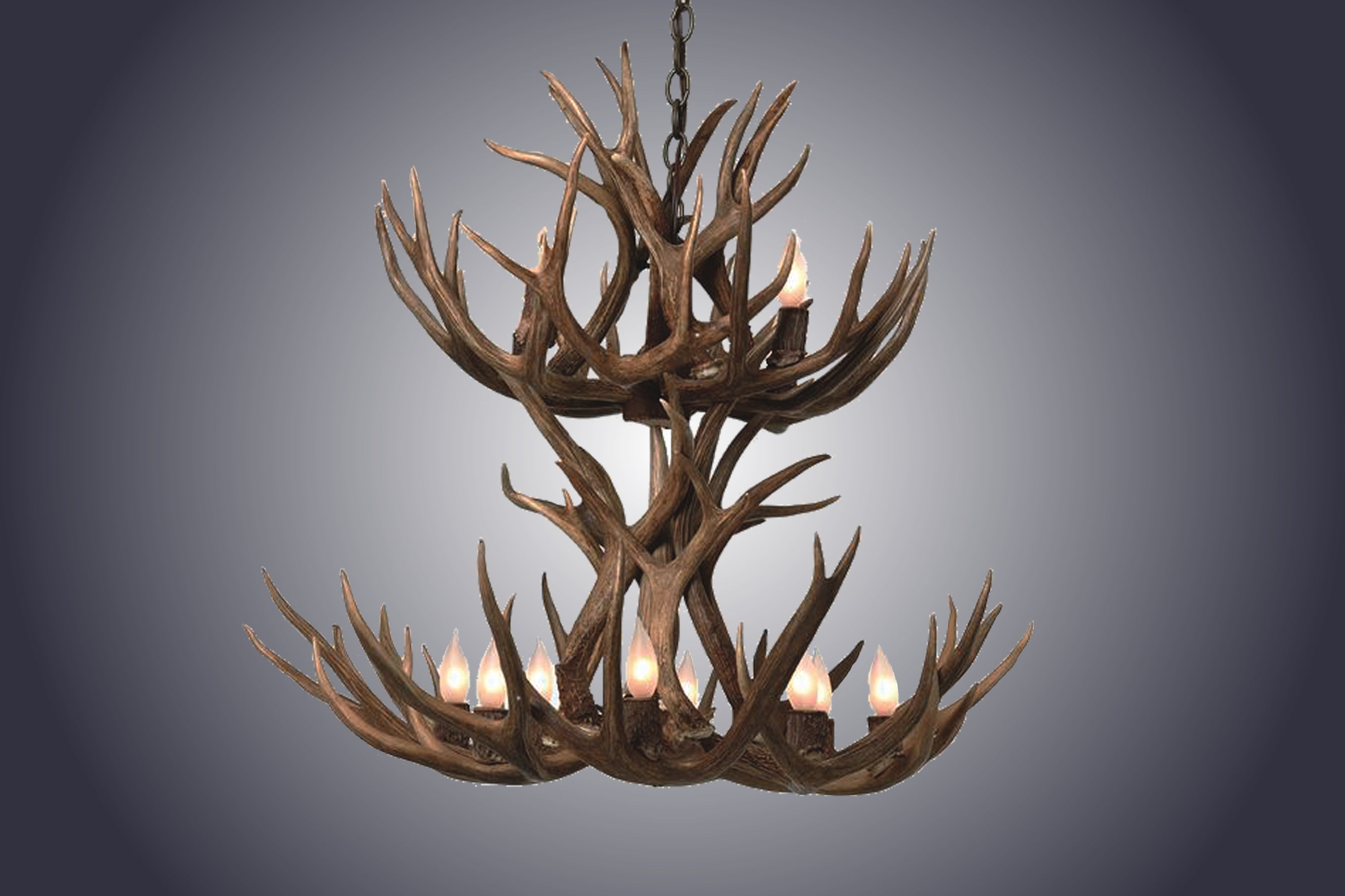 8 Light Small Double Tiered Mule Deer Antler Chandelier (SKU-70S) - Antlerworx