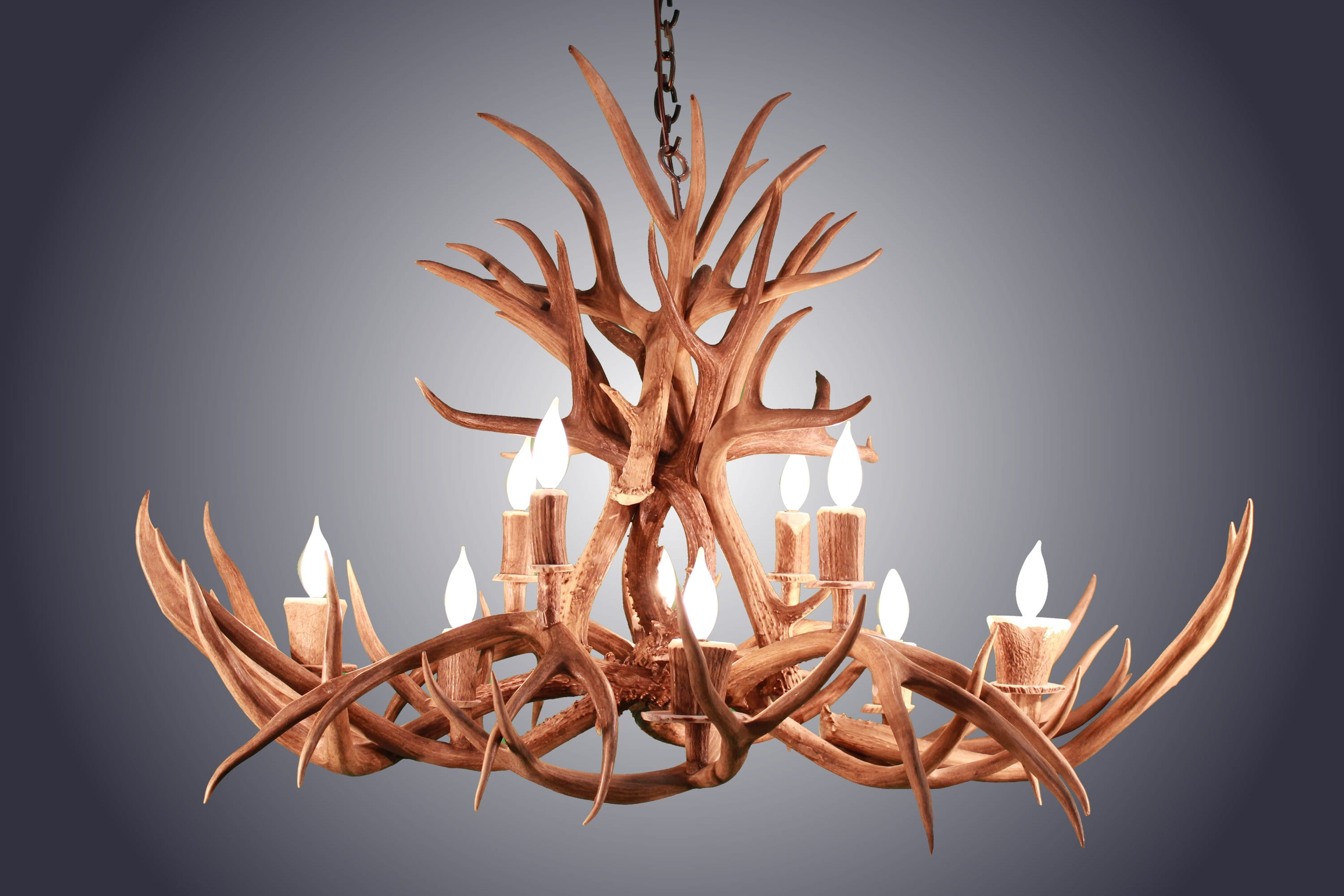 10 Light Oblong Inverted Mule Deer Antler Chandelier Sku 77 Antlerworx