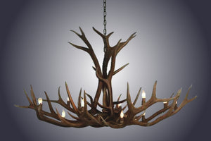 12 Light Single Tier Elk Antler Chandelier (SKU-89) - Antlerworx