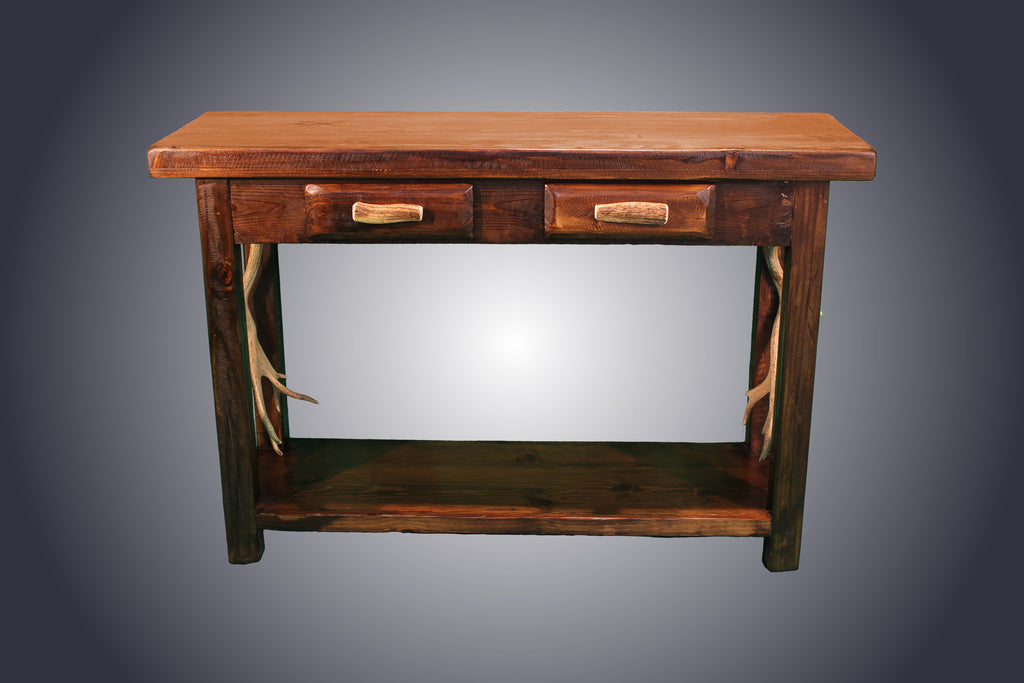Pine Sofa Table With Antler Handles (ST-6) - Antlerworx
