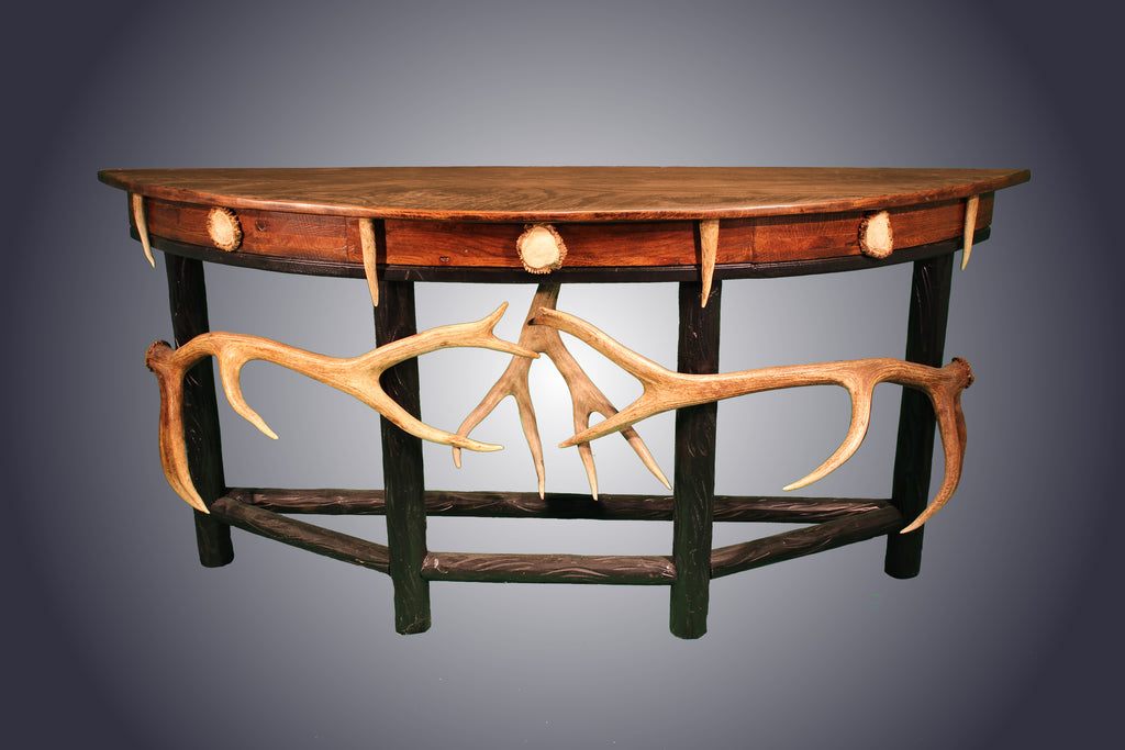 Demi Lune Oak & Antler Accents Sofa Table (ST-8) - Antlerworx