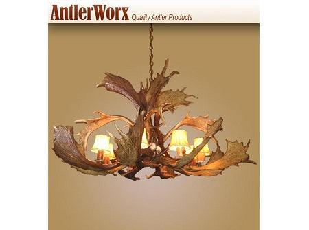 8 Light Fallow Spray Antler Chandelier (AWC-10) - Antlerworx