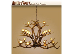 18 Light Elk Fallow Majestic Antler Chandelier (AWC-11) - Antlerworx