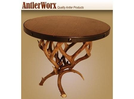 Large Round Top Mule Deer Antler End Table (ET-1) - Antlerworx