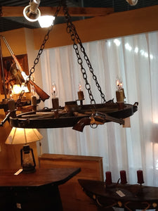 6 Light Wagon Wheel Pistol Chandelier (3 Pistols)(AWC-69) - Antlerworx