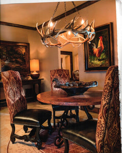8 Light Elk/Mule Deer Round Ring Antler Chandelier (Chain Build Up) (AWC-62) - Antlerworx