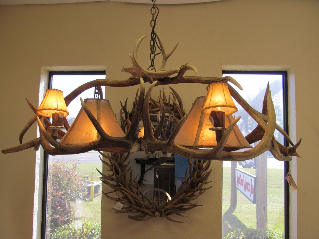 4 Light Elk Billiard Antler Chandelier (2 Downlights) (AWC-63) - Antlerworx