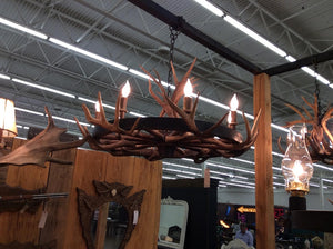 8 Light Wagon Wheel Antler Chandelier (AWC-64) - Antlerworx