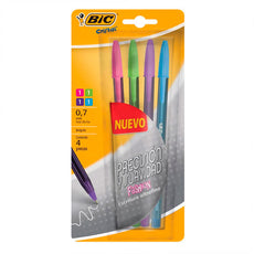 PLUMA CRISTAL ULTRAFINO 4 COLORES FASHION BIC