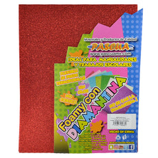 FOAMY CARTA DIAMANTINA 2 PZ ROJO MNK