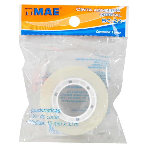TAPE TRANSPARENTE 12X33 MT BC-22 MAE MNK