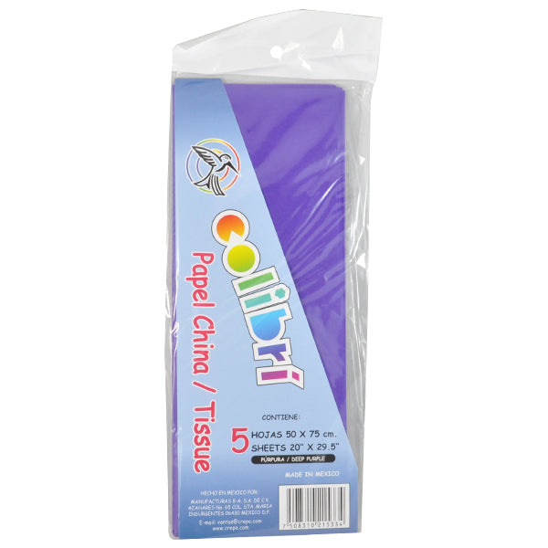 PAPEL CHINA NORMAL MORADO 5 PZ MNK