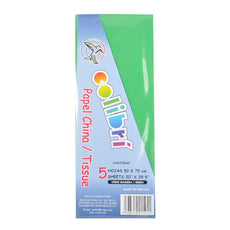 PAPEL CHINA NORMAL VERDE BANDERA 5 PZ MNK