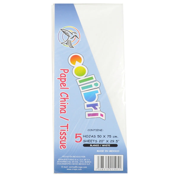 PAPEL CHINA NORMAL BLANCO 5 PZ MNK