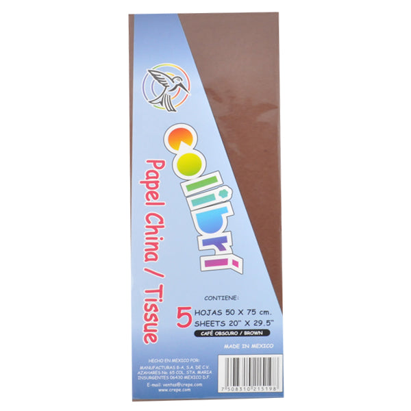 PAPEL CHINA NORMAL CAFE 5 PZ MNK