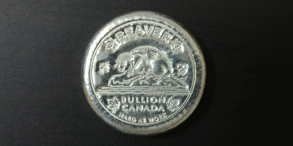 5 oz .999 Pure Silver Beaver Bullion Hard at Work Puck