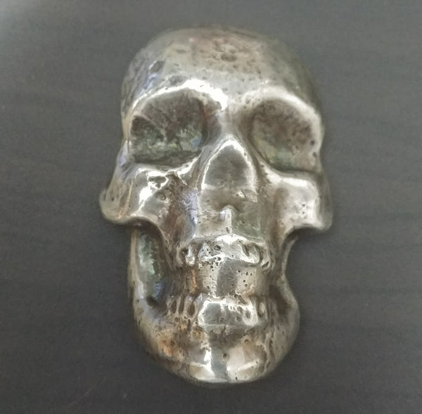 Pure Silver Skull 6.5 oz of .999 silver. Sand cast & antiqued by Tomoko's Enterprize