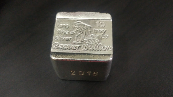 10 oz .999 Silver Beaver Block Hand poured by Beaver Bullion