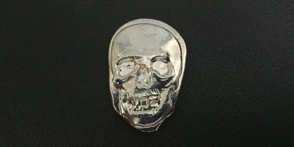 1.25 ozt .999 Silver Skull Hand Poured in Canada by Tomoko's Enterprize