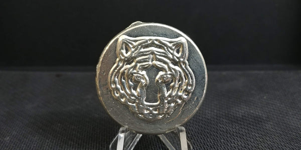 2.59 ozt Tiger Head Hand Poured .999 Silver Round