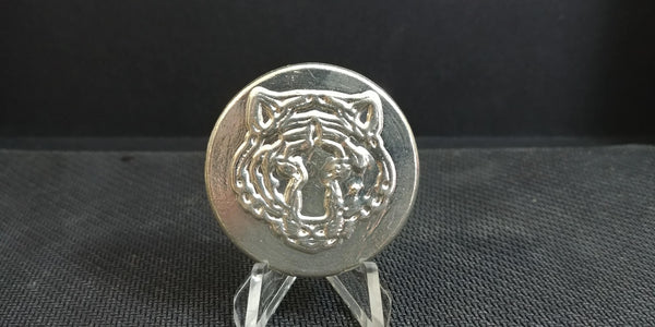 2.5 ozt Tiger Head Hand Poured .999 Silver Round