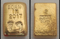 Year of Birth Commemorative 2 ozt Silver Bar. Poured in .999 Fine Silver Gold Gilded in 24k Gold