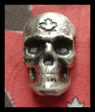 1 oz .999 Pure Silver Antiqued Skull. Hand poured by Beaver Bullion