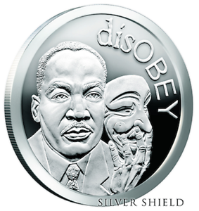disOBEY Mini Mintage series #4, MLK Martin Luther King by Silver Shield - BU 1 oz .999 Silver Round