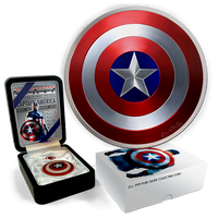 CAPTAIN AMERICA DOMED SHIELD 2 oz Marvel Avengers $2 .999 fine Silver coin Proof Fiji 2016 Convex Concave shaped