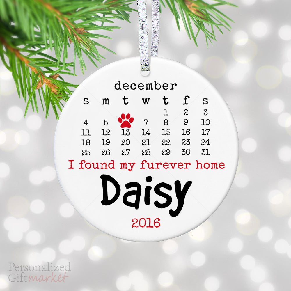 personalized pet christmas ornament found my forever home pet name - Christmas Pet Names