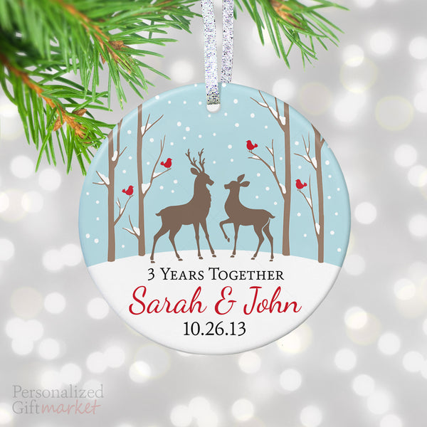 personalized anniversary gift for couples christmas ornament