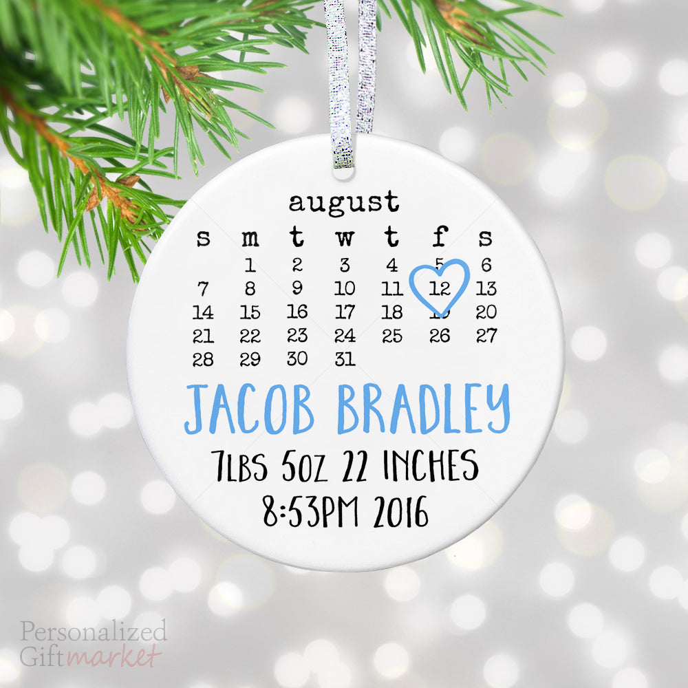 new baby birth stats ornament baby announcement christmas ornament