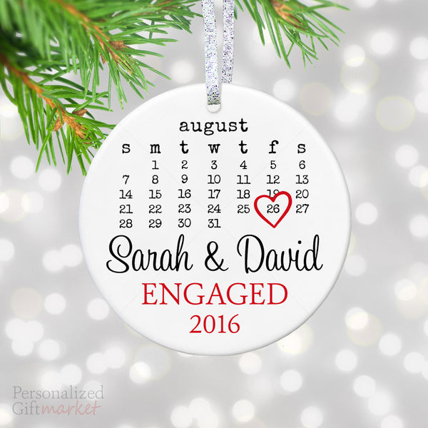 personalized engagement gift engaged christmas ornament calendar engagement date keepsake