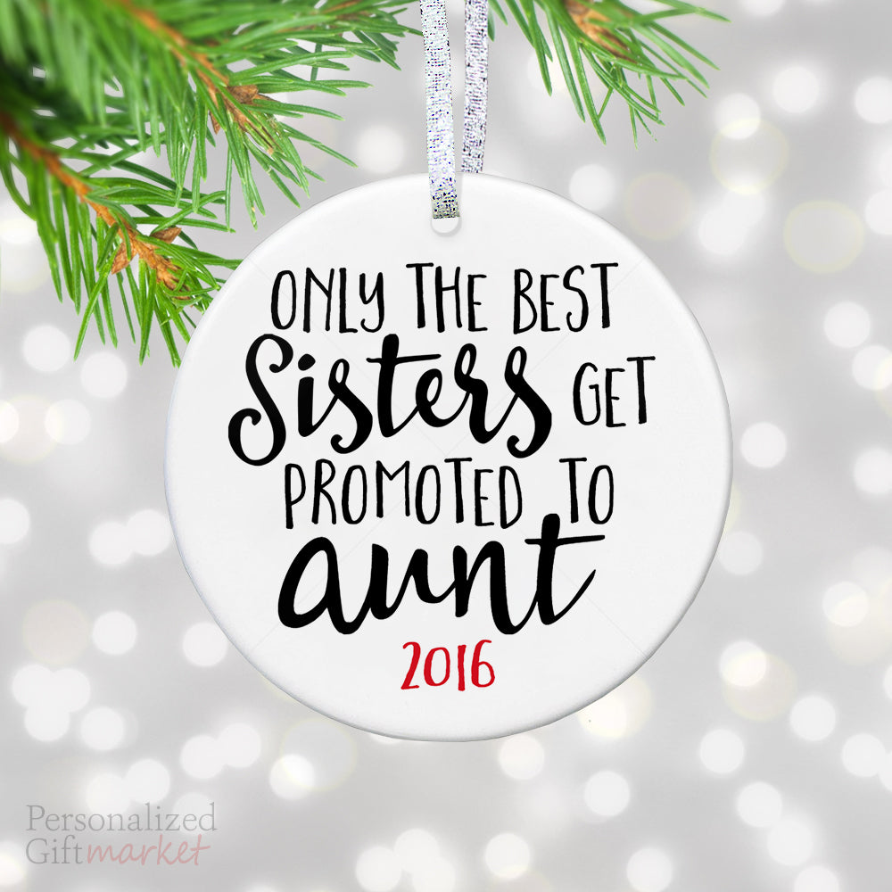 Promoted to Aunt Christmas Ornament – Personalized Gift Market