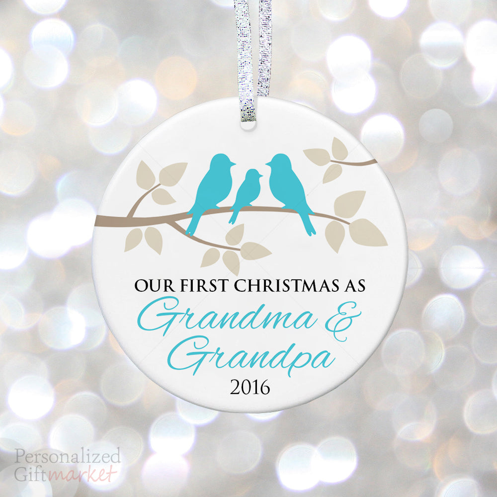 pregnancy reveal to grandparents new baby boy teal aqua birds - Baby Boy First Christmas Ornament