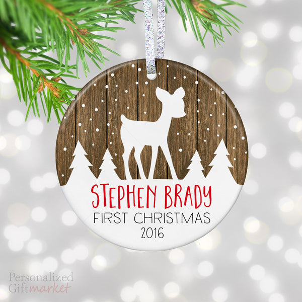 babys first ornament rustic deer new baby christmas ornament personalized gift market